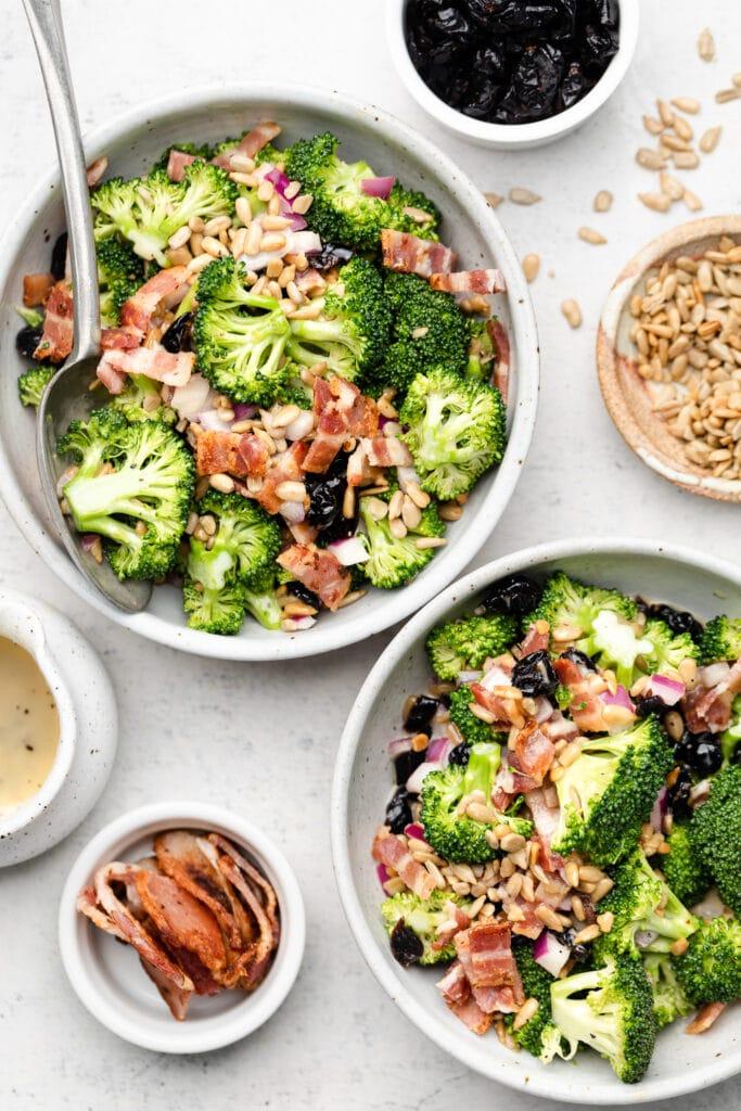 Broccoli Salad in bowls