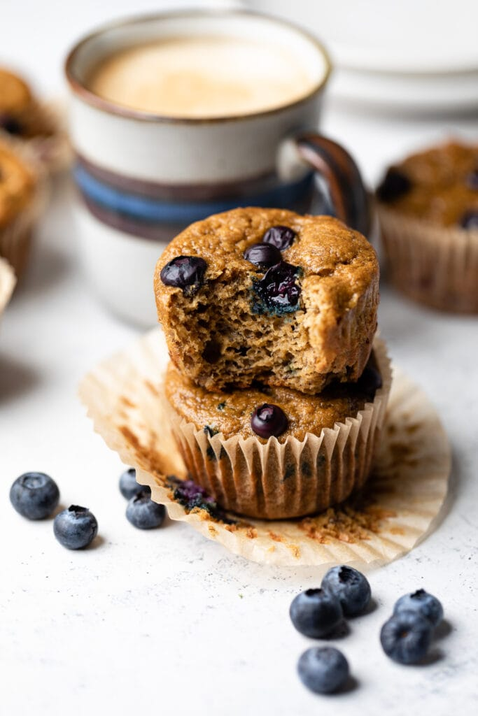 blueberry muffins stacked on each other