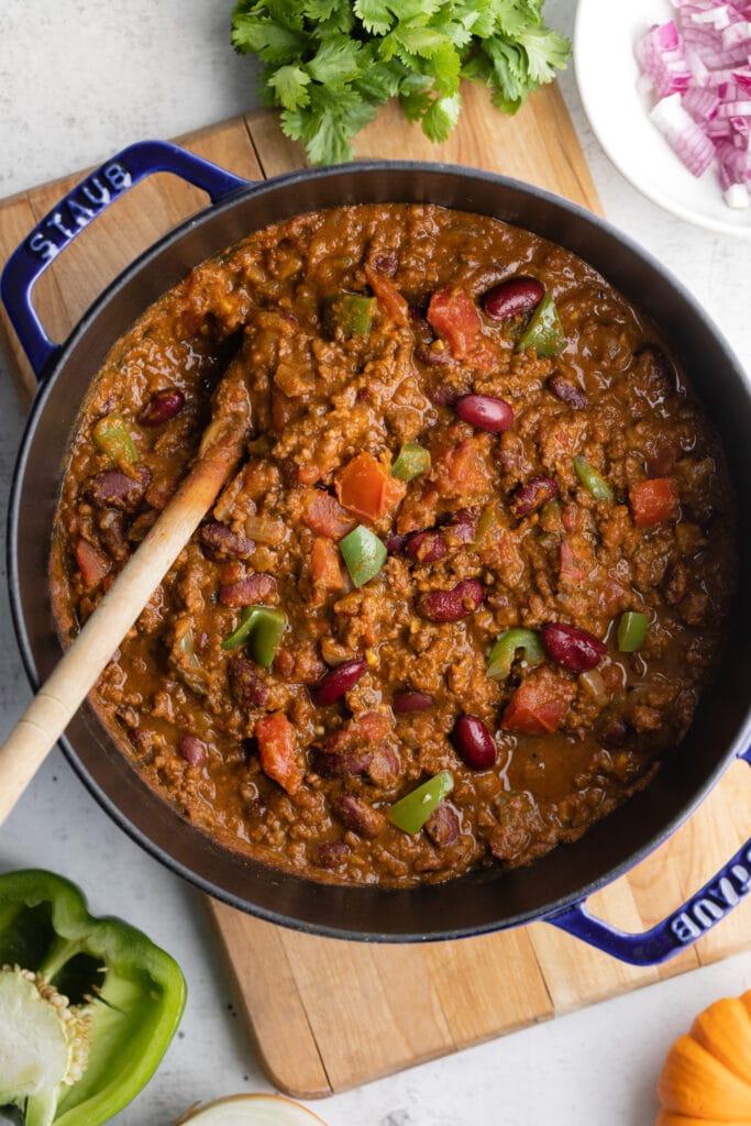 pumpkin chili in pot