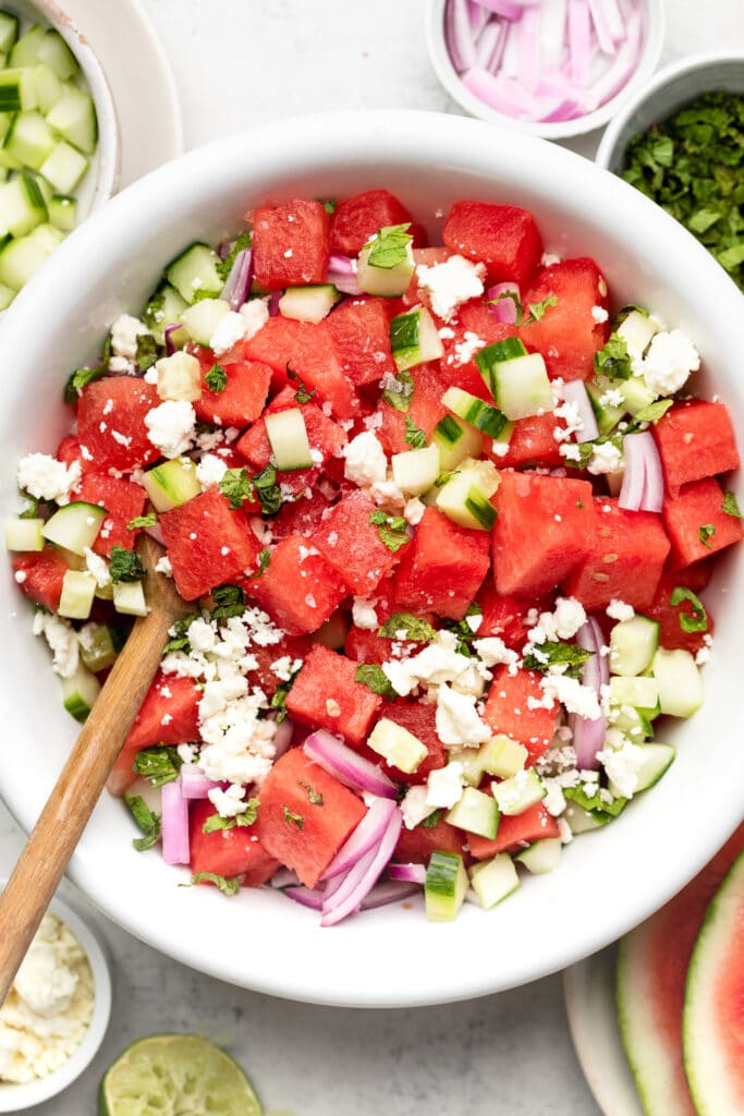 watermelon feta salad in bowl