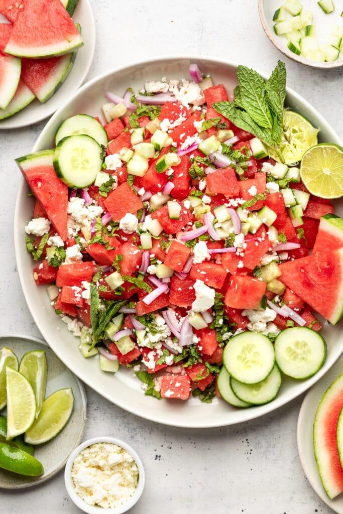 watermelon feta salad on large plate