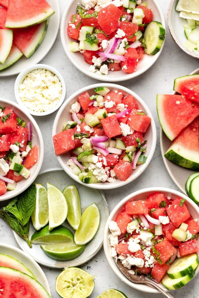 watermelon feta salad in bowls