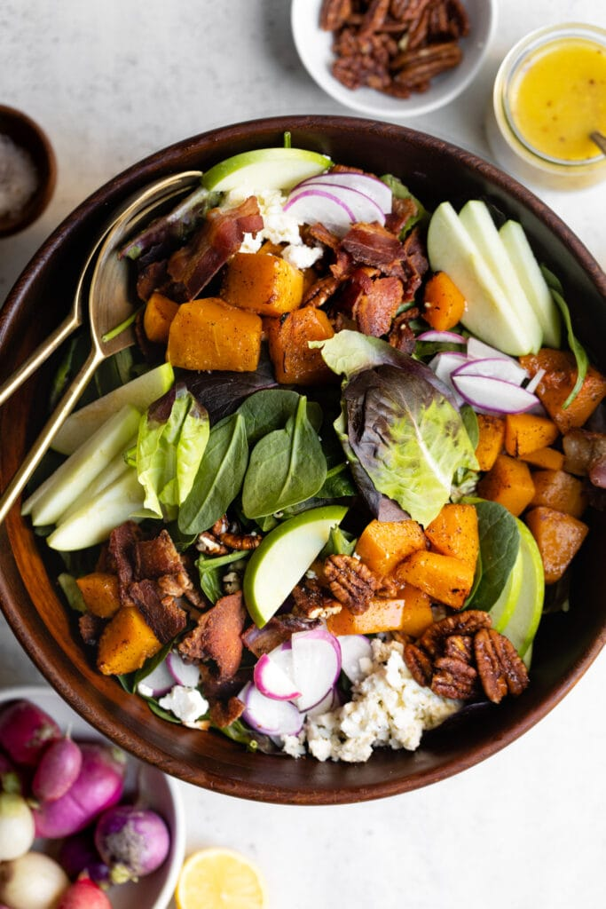 fall harvest salad in brown bowl