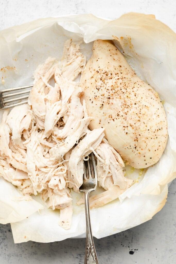 shredded chicken in dish