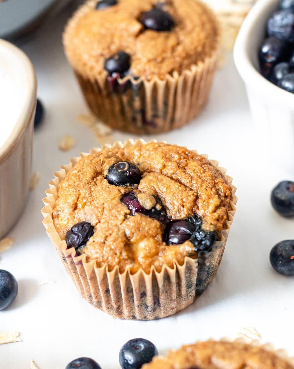 One Bowl Gluten Free Banana Blueberry Muffins close up shot.jpg