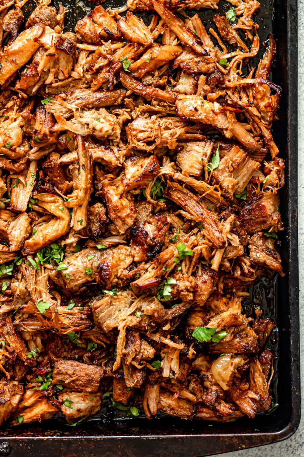 Crispy Pork Carnitas on a sheet pan