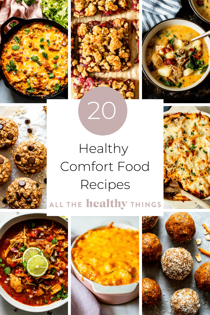 Healthy Comfort Food Recipes collage with 9 different food images