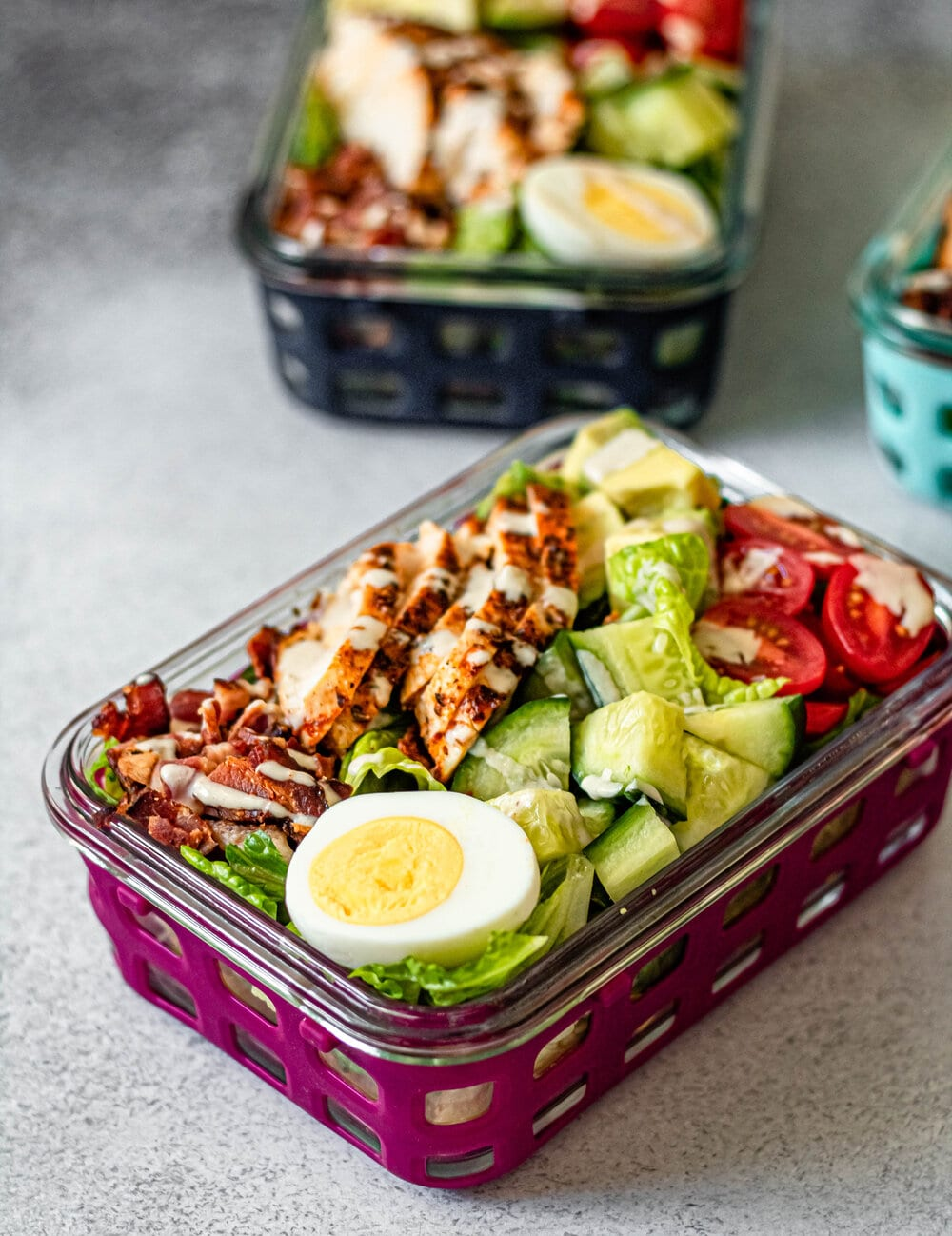 Easy Cobb Salad Meal Prep in meal prep container
