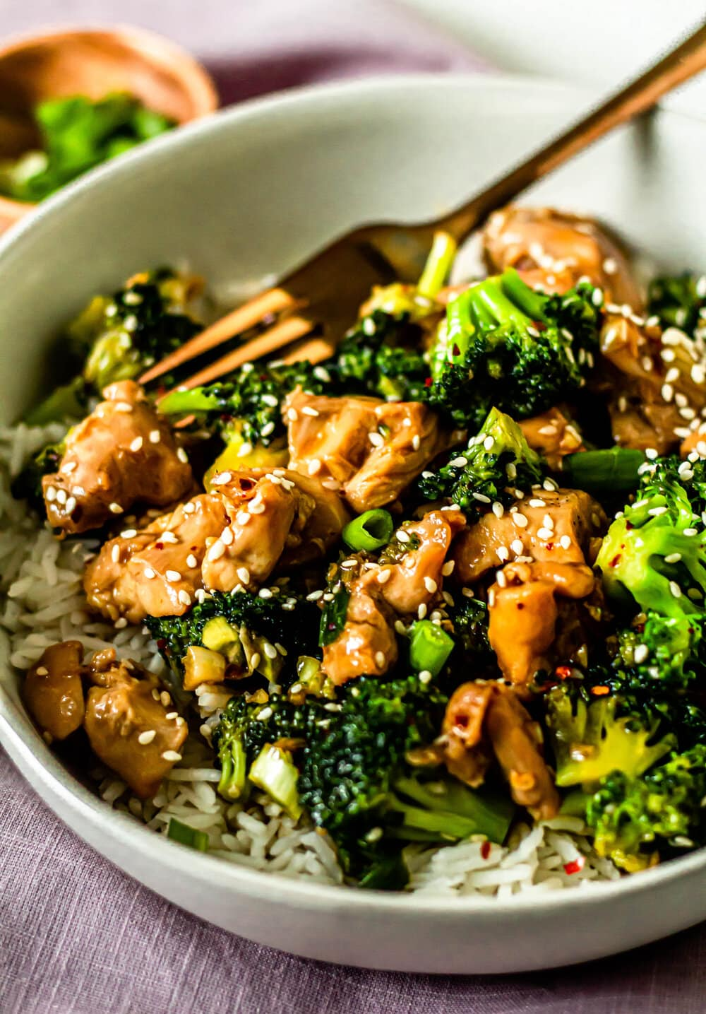 chicken and broccoli stir fry over rice