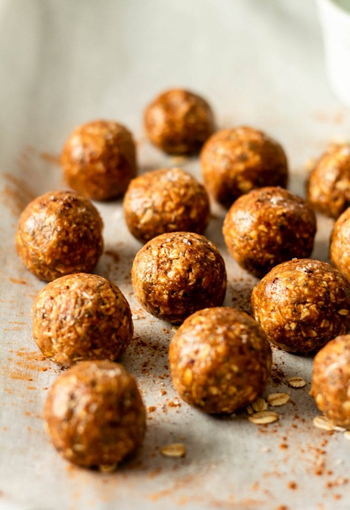 energy balls on a tray
