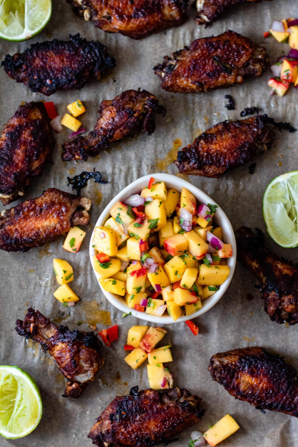 Crispy Jerk Chicken Wings with Mango Salsa