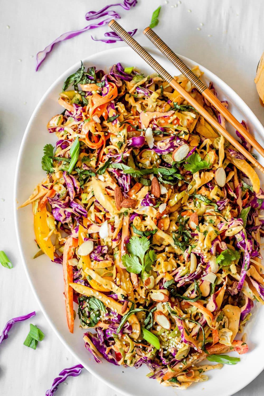Thai Crunch Salad with Creamy Peanut Dressing