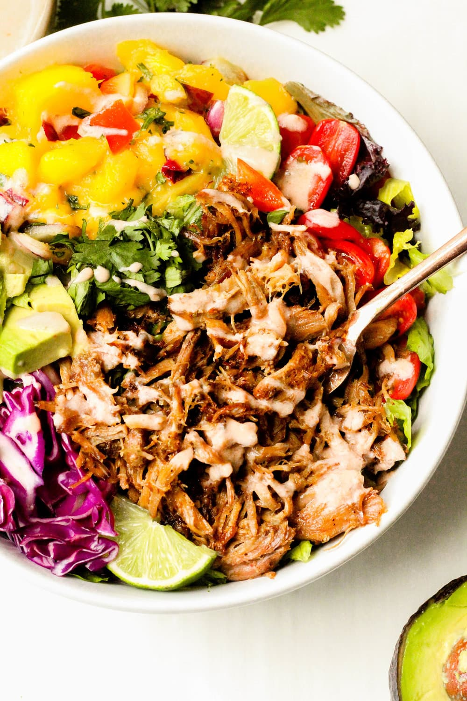 Slow Cooker Carnitas Taco Salad Bowls
