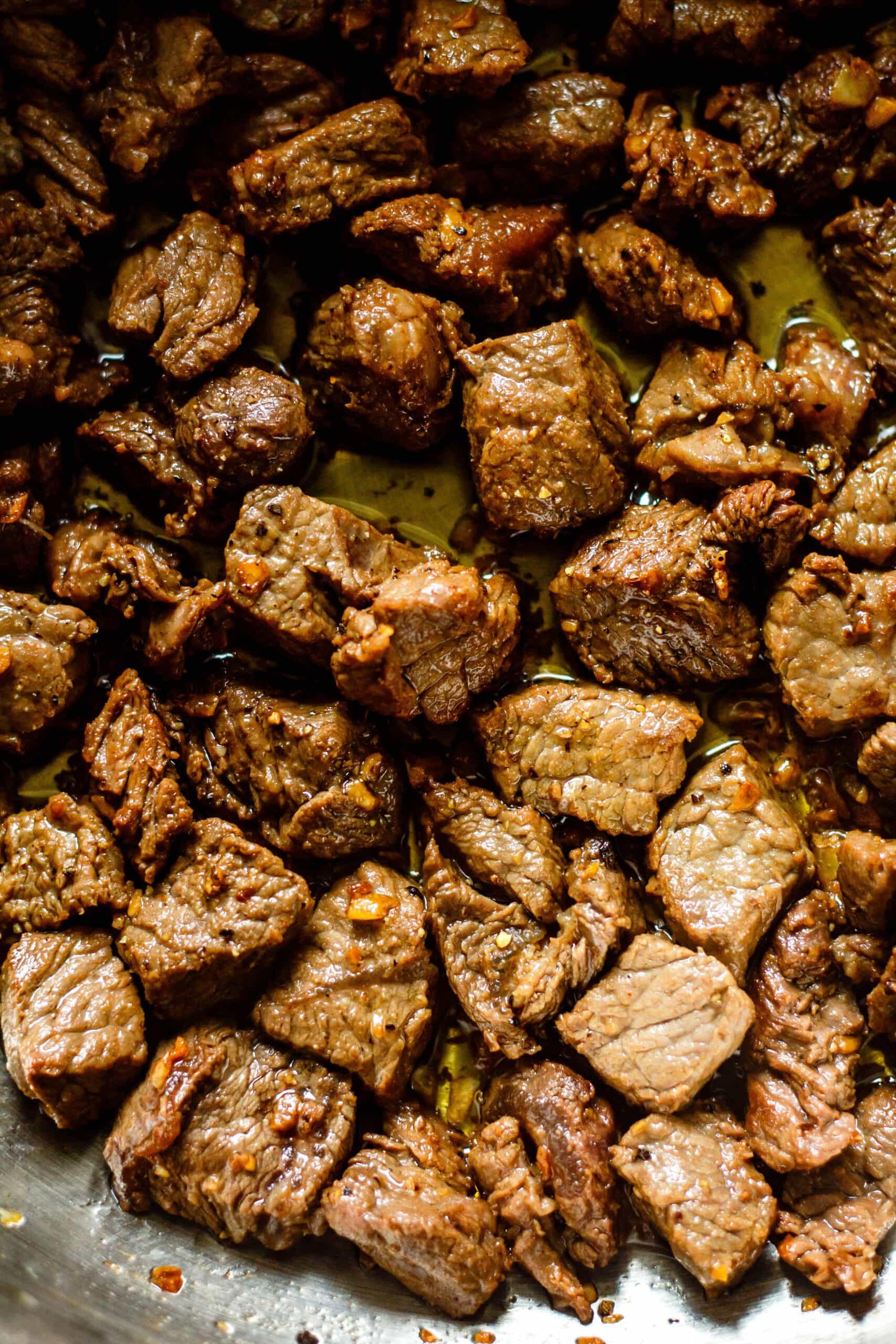 steak bites in pan