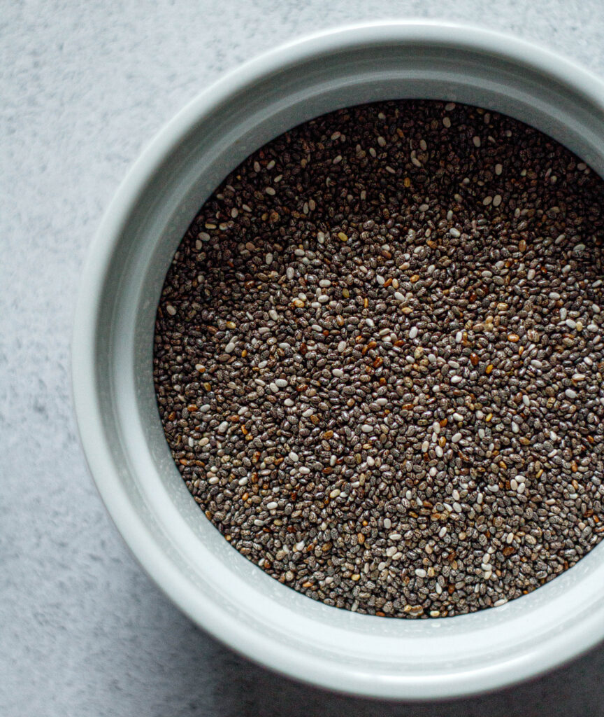 chia seeds in a white ramekin