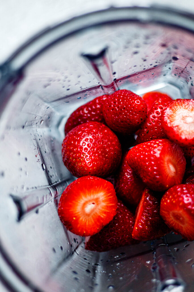 whole strawberries in blender