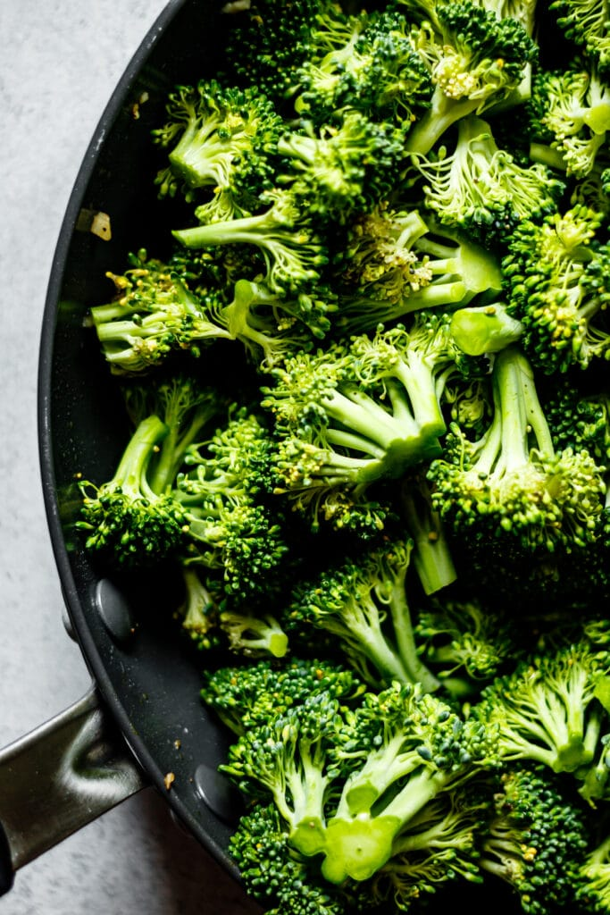 broccoli florets in a skillet