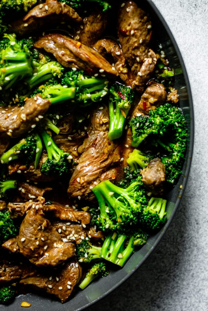 cooked beef and broccoli is skillet