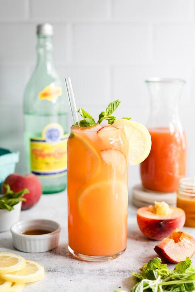 peach lemonade in glass