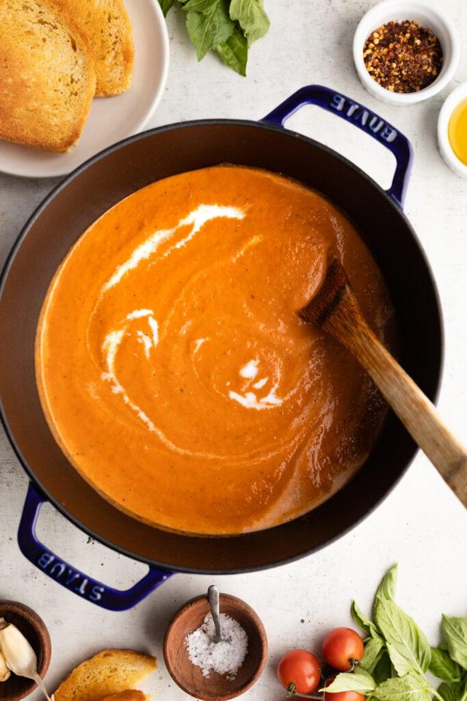 blended soup in stock pot