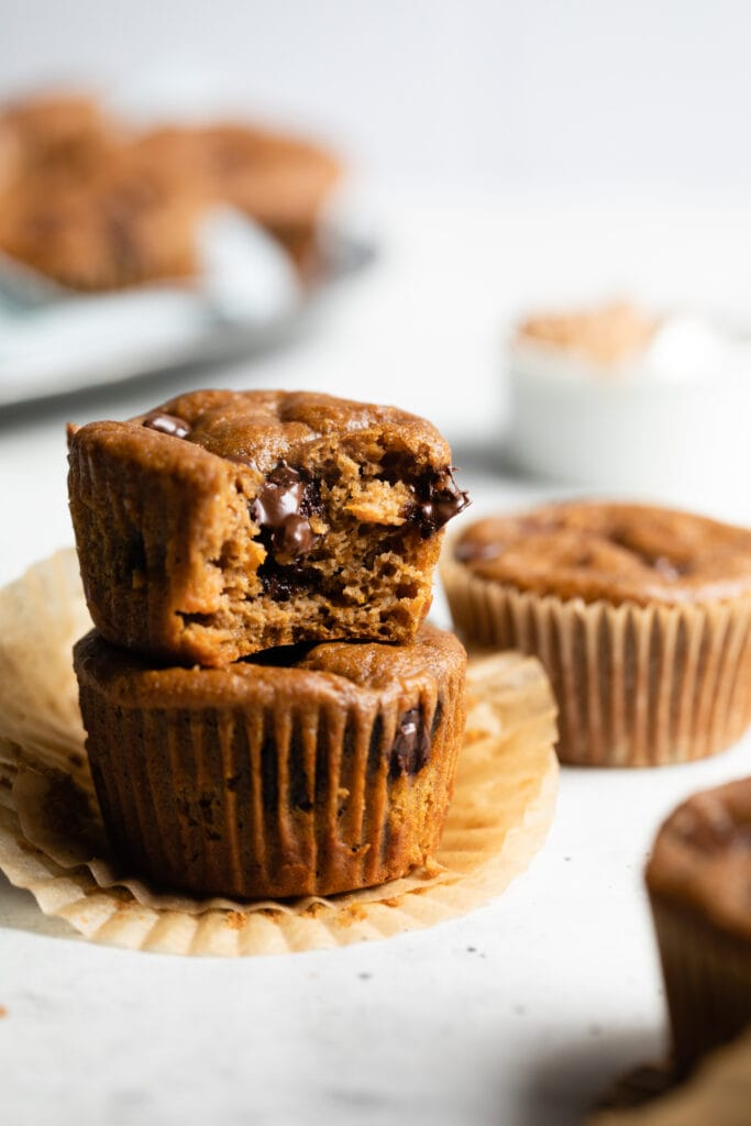 sweet potato muffins stacked on each other