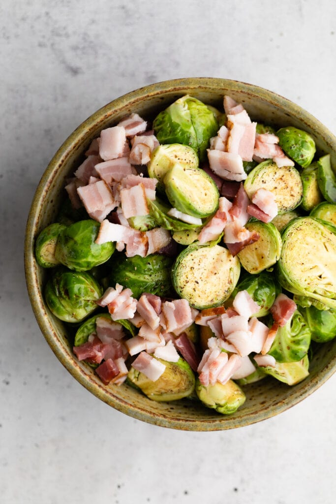 Brussels sprouts with bacon in a bowl