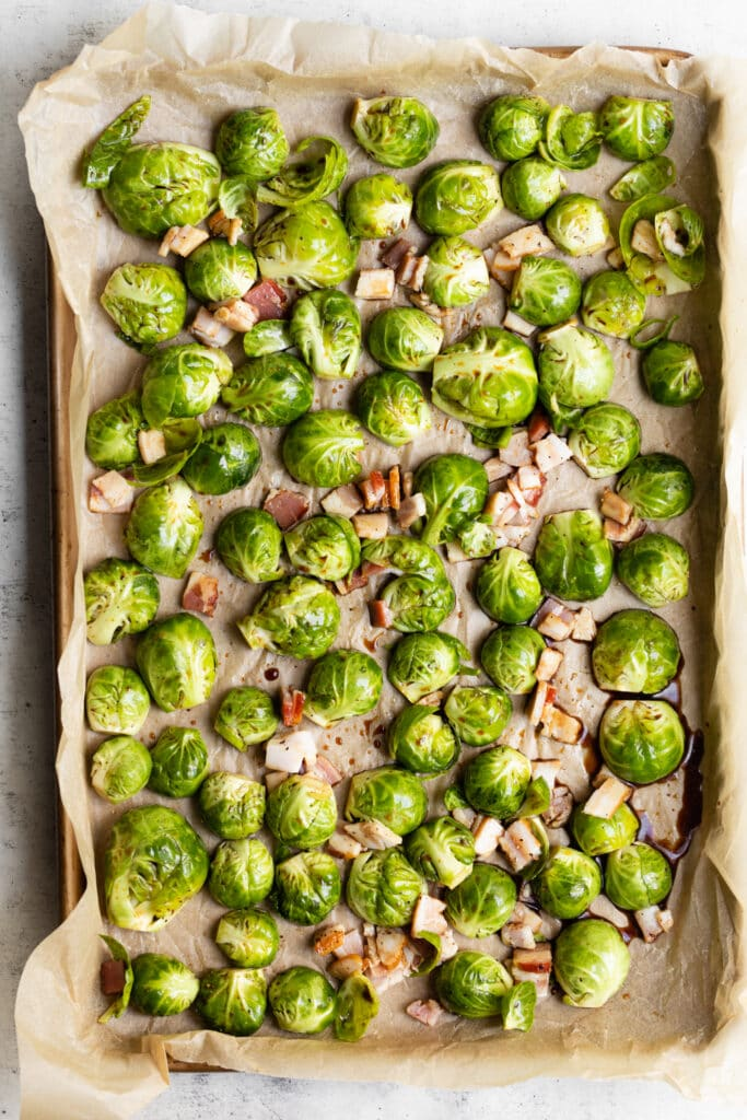 brussel sprouts and bacon on sheet pan