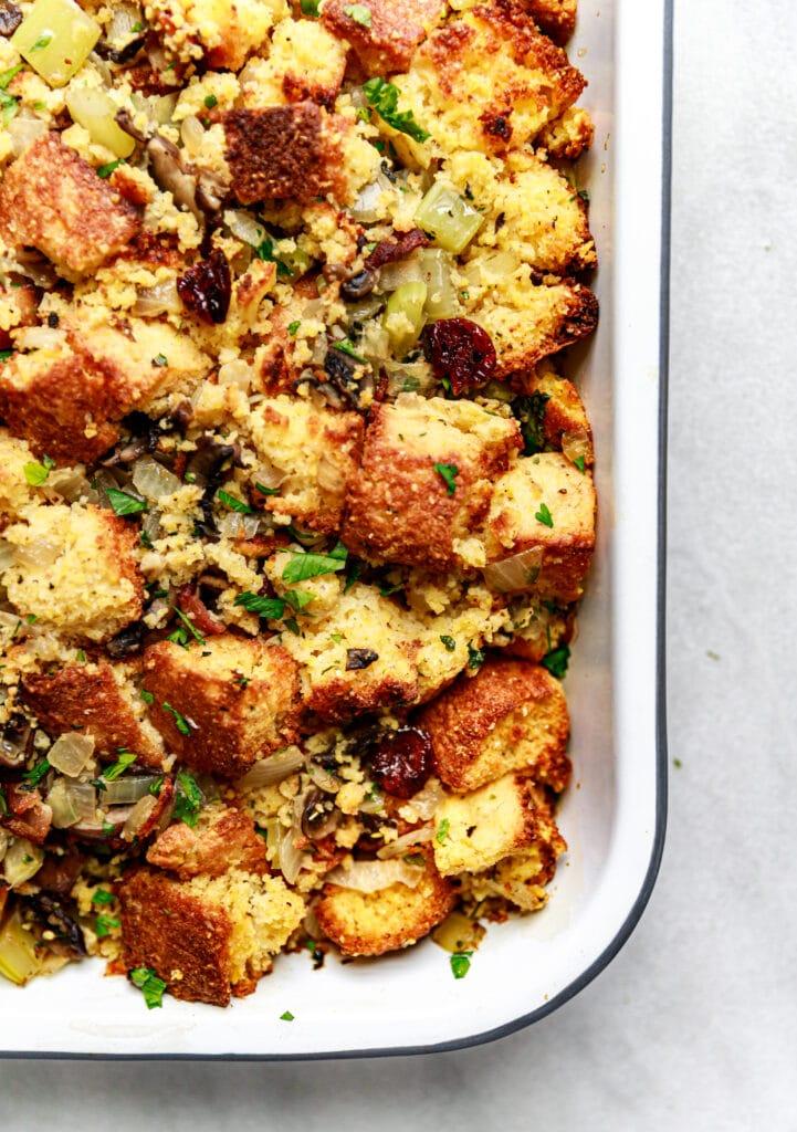 cornbread in baking pan