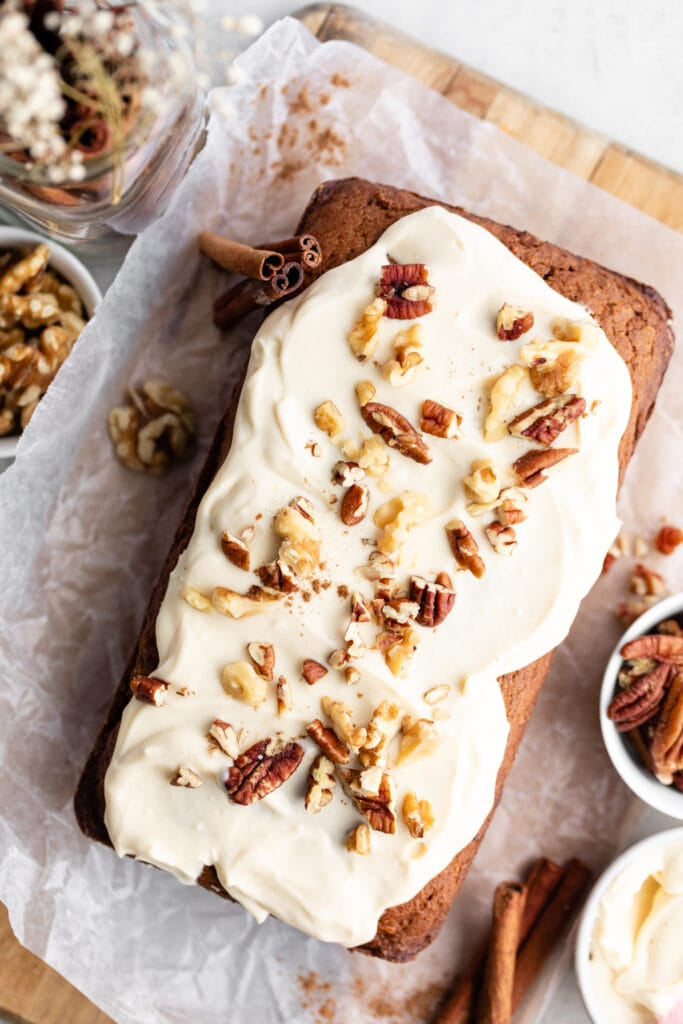 bread with frosting and nuts