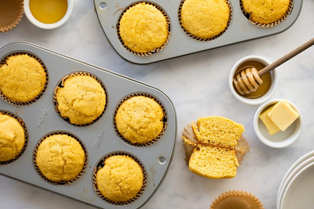 cornbread muffins in muffin tin