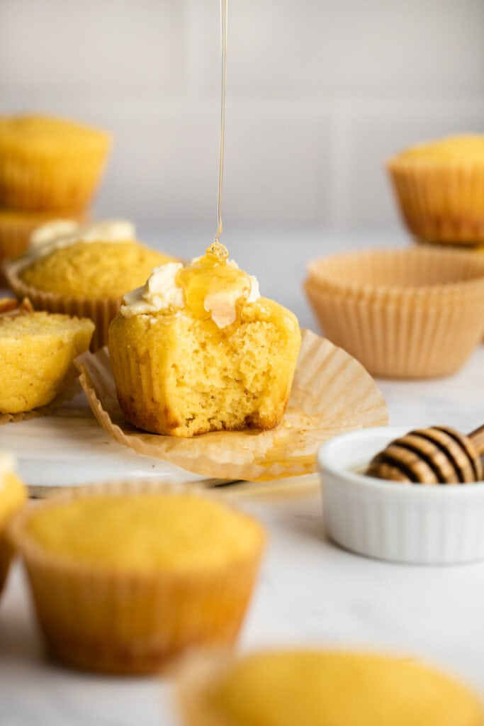 cornbread muffin with honey and butter