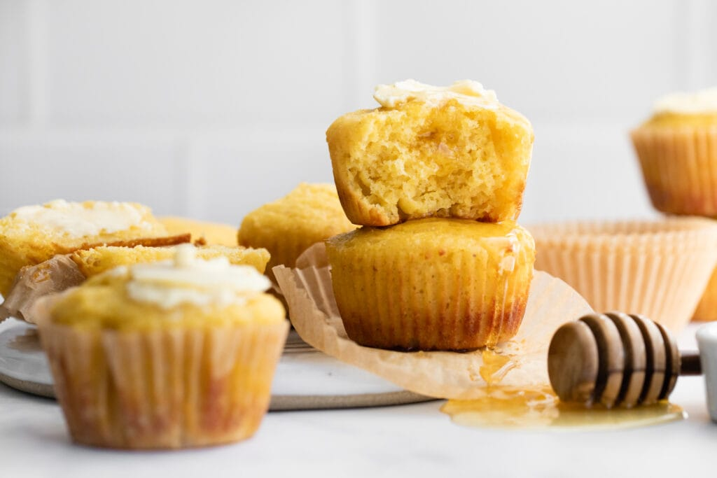 cornbread muffins stacked on each other