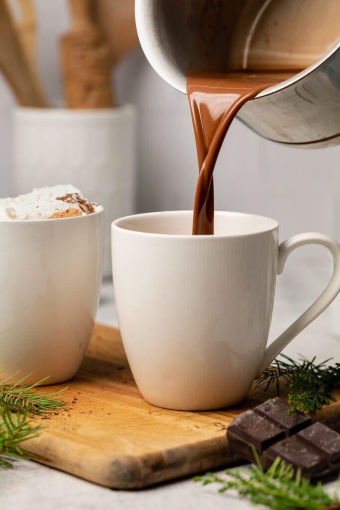 hot chocolate being poured into mug