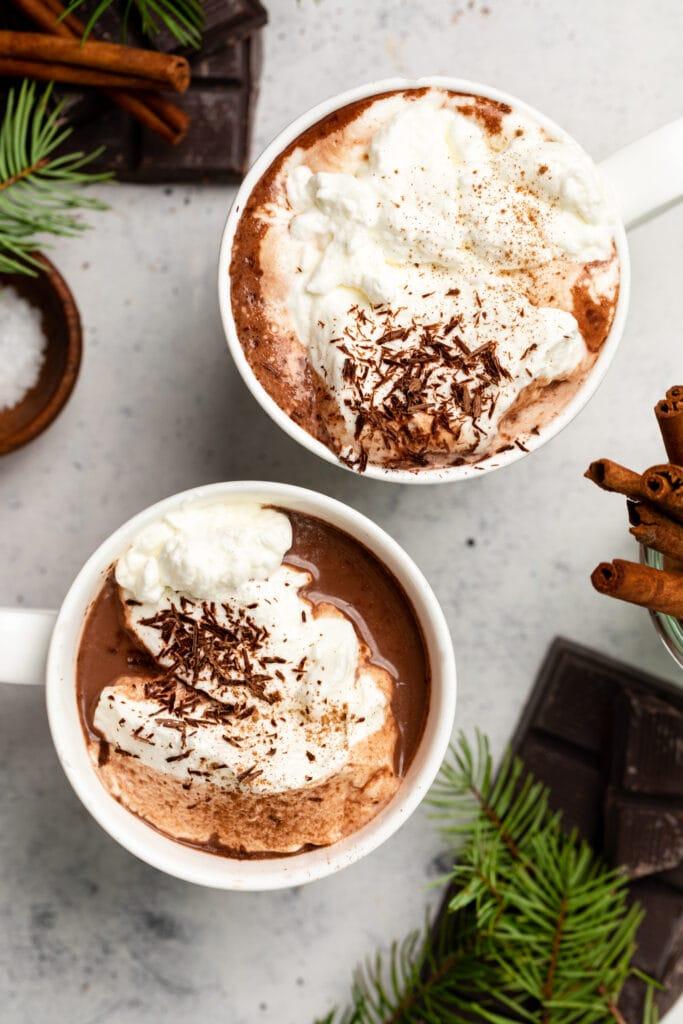 hot chocolate in white mugs