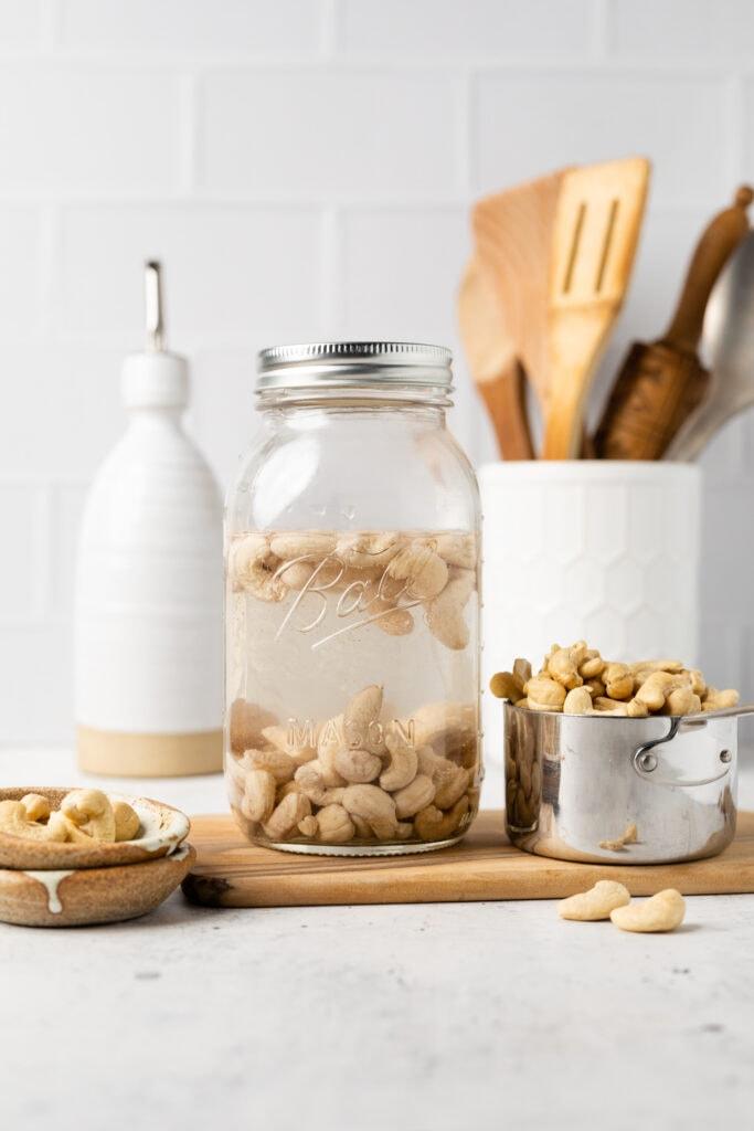 cashews soaking in mason jar