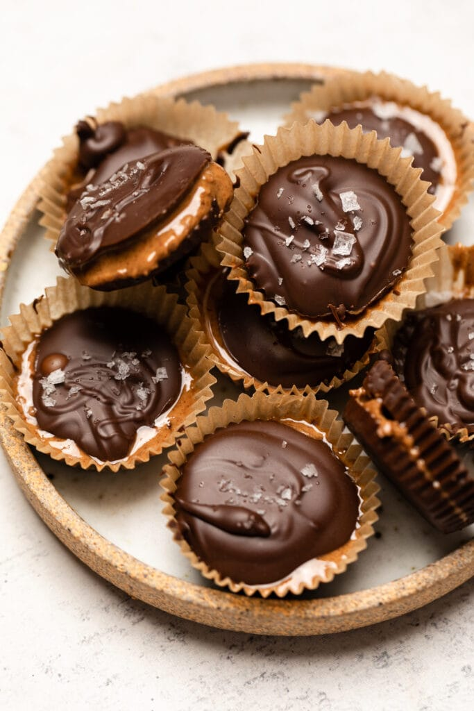 almond butter cups on plate