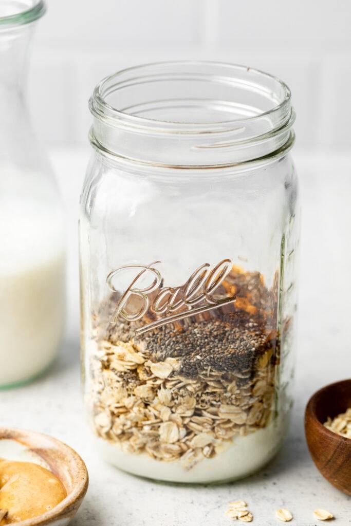 overnight oats ingredients in mason jar