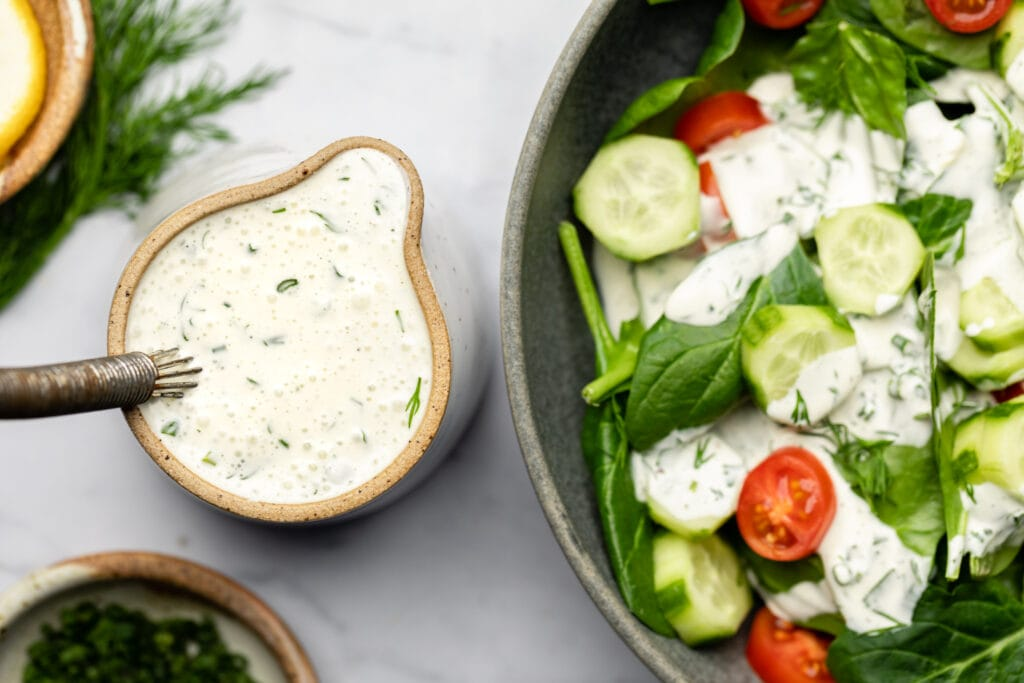 ranch dressing in ramekin and salad