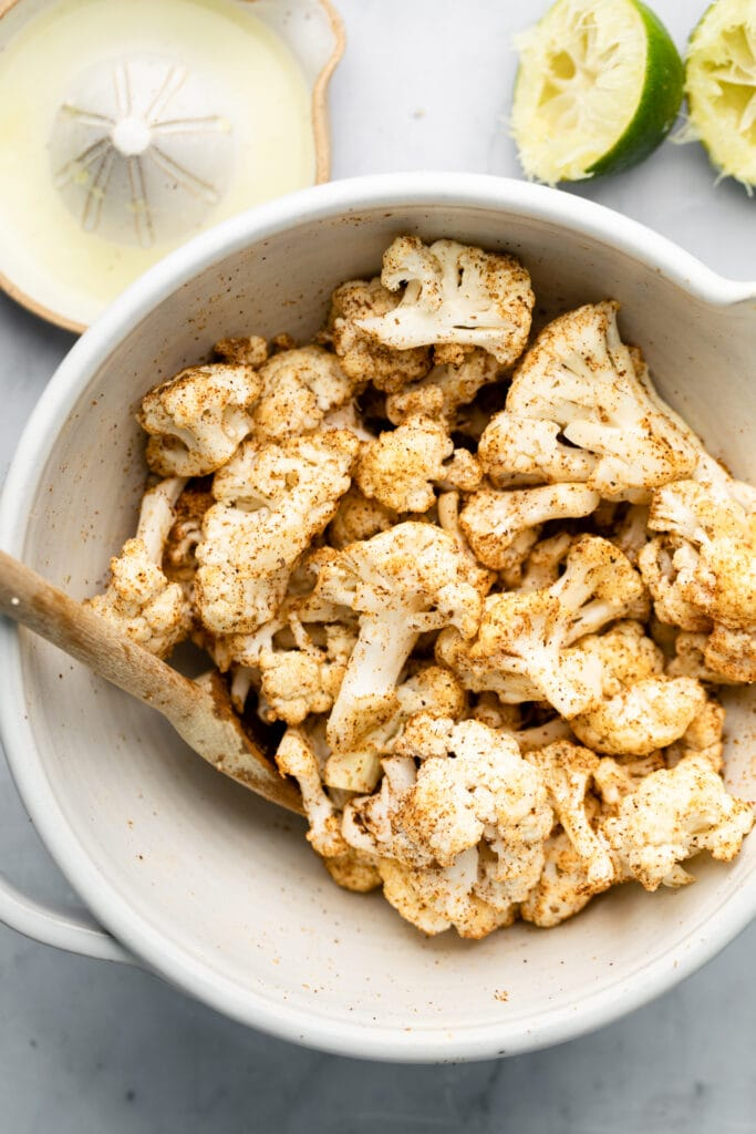 cauliflower coated in spices