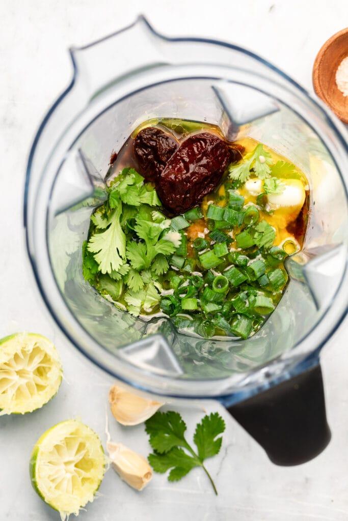 tahini sauce ingredients in blender