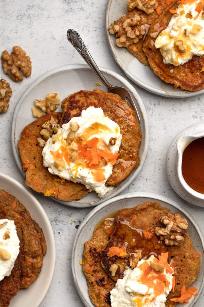 carrot cake pancakes on plate