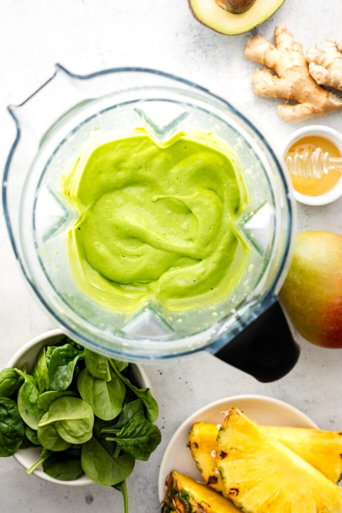 green smoothie blended in blender