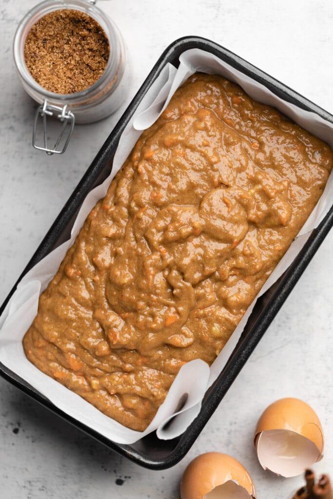 carrot cake batter in pan