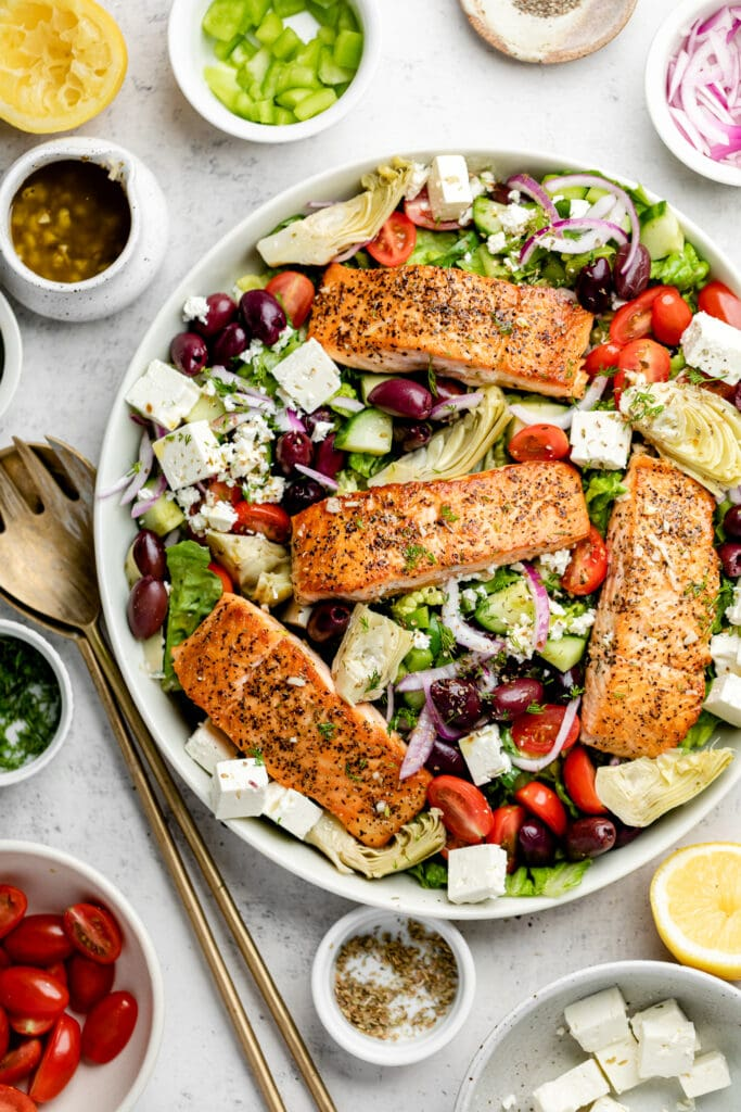 Greek salmon salad in large bowl