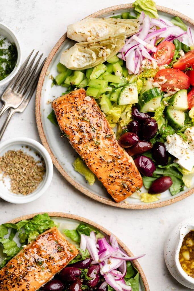 Greek salmon salad on plate