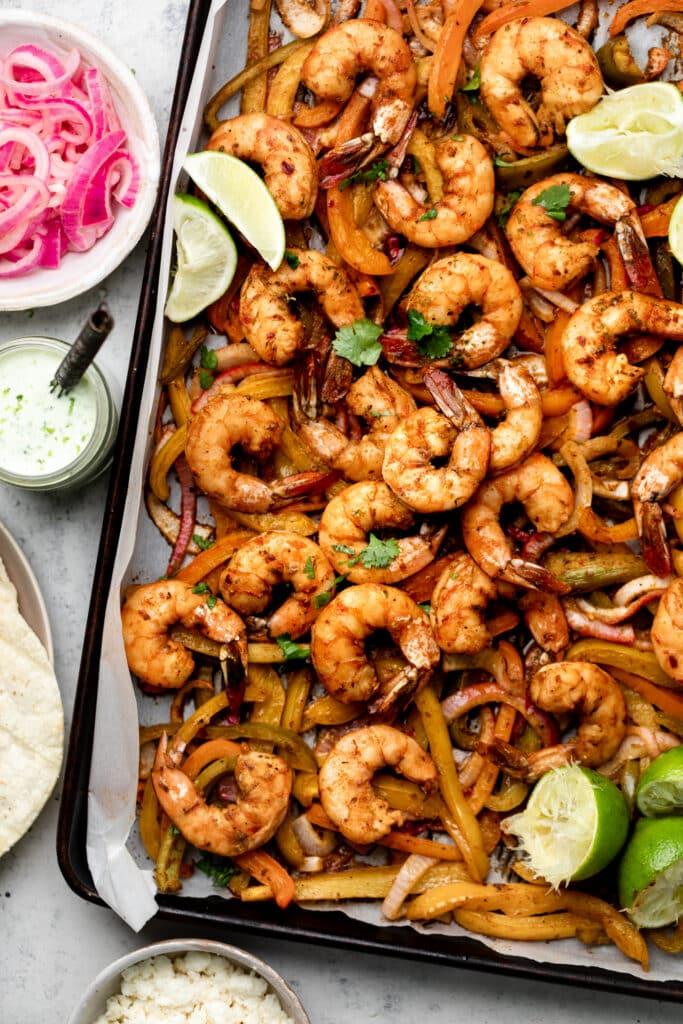 sheet pan shrimp fajitas on sheet pan