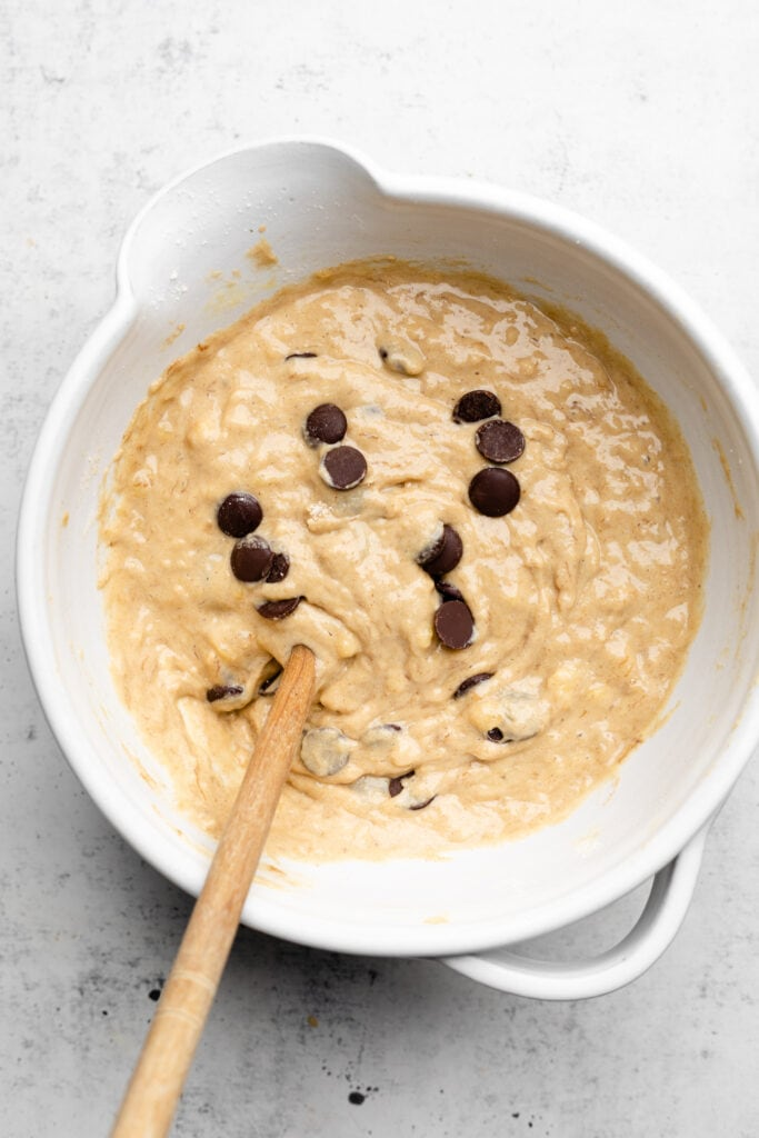 banana chocolate chip muffin batter