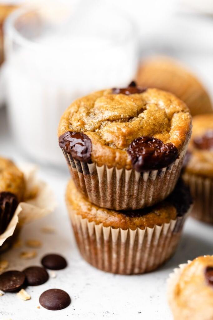 banana chocolate chip muffins stacked