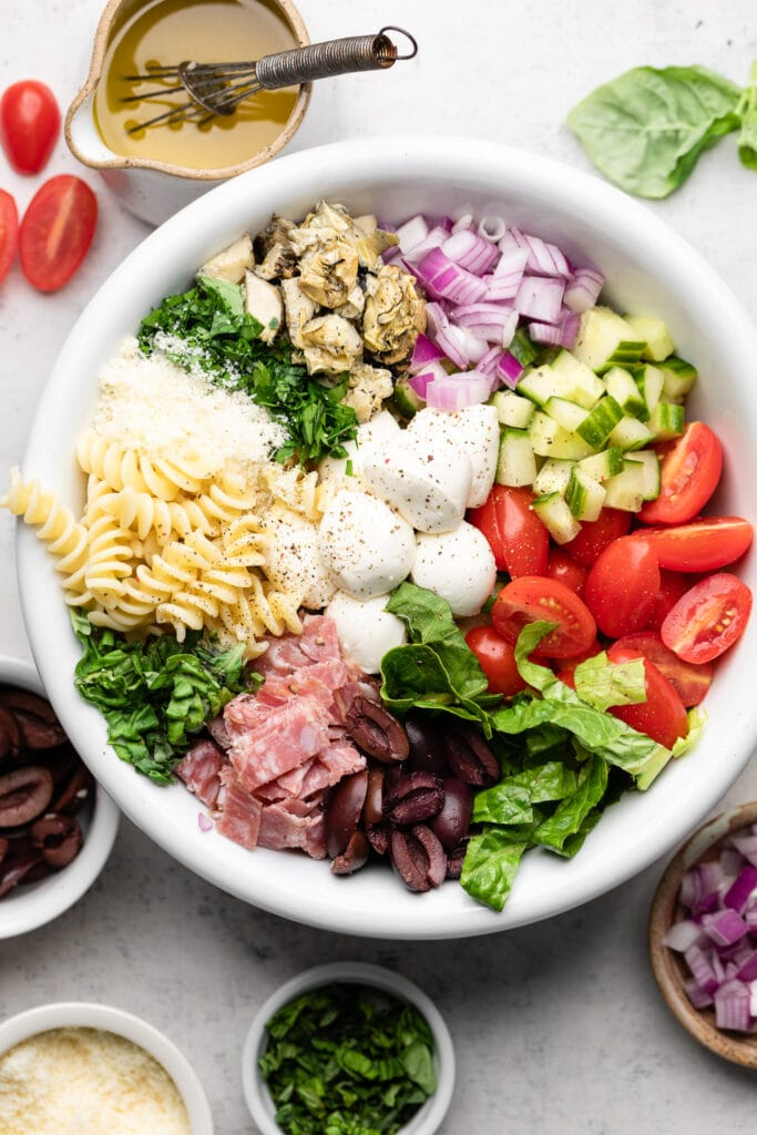 Italian pasta salad in white bowl