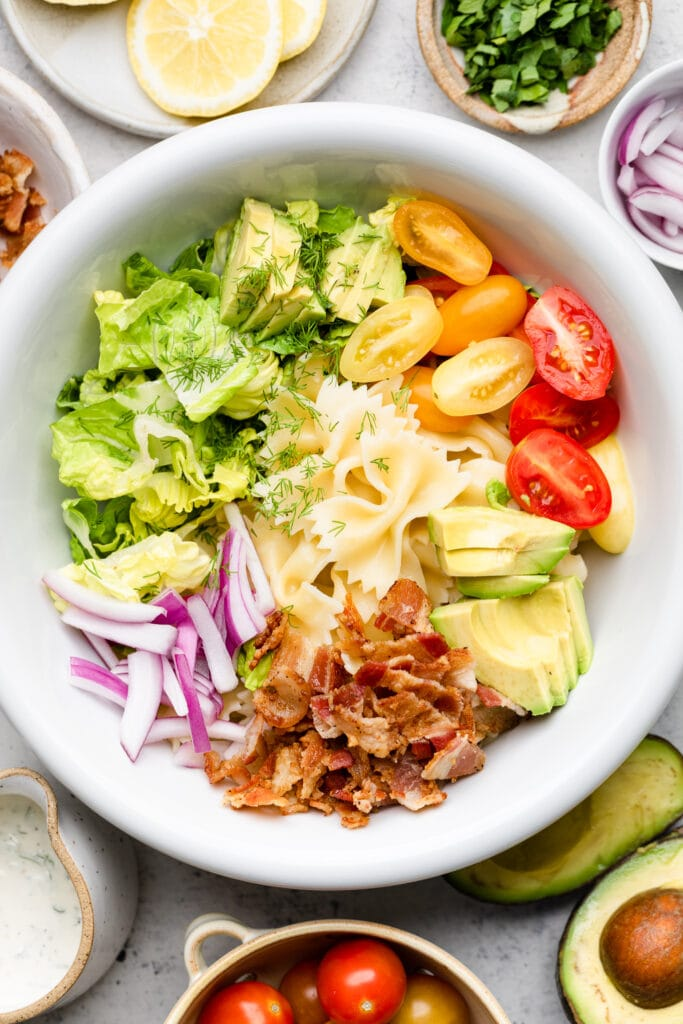 pasta salad ingredients in bowl
